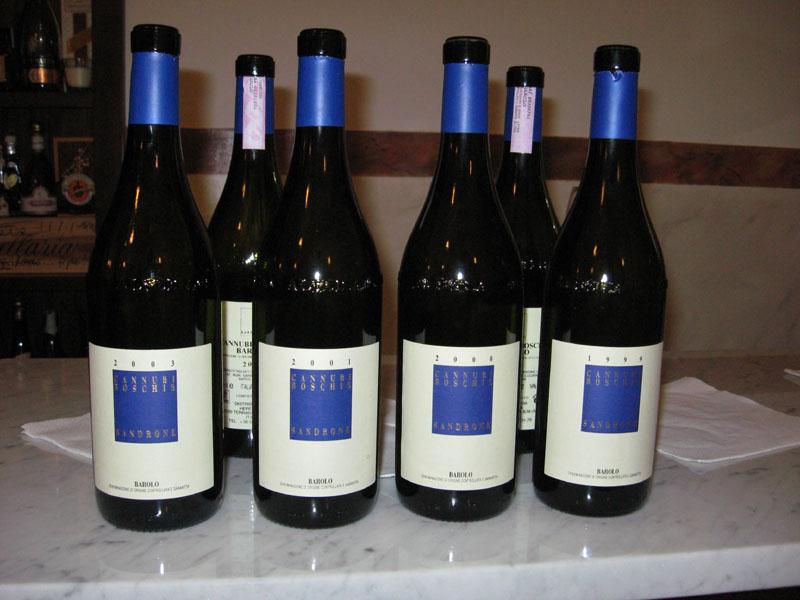 """Bottiglie di barolo """"Cannubi Boschis"""" Sandrone 2003, 2001, 2000, 1999"""