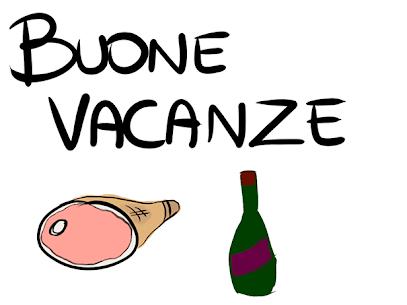 Buone ferie Disegno di un prosciutto crudo e una bottiglia di vino